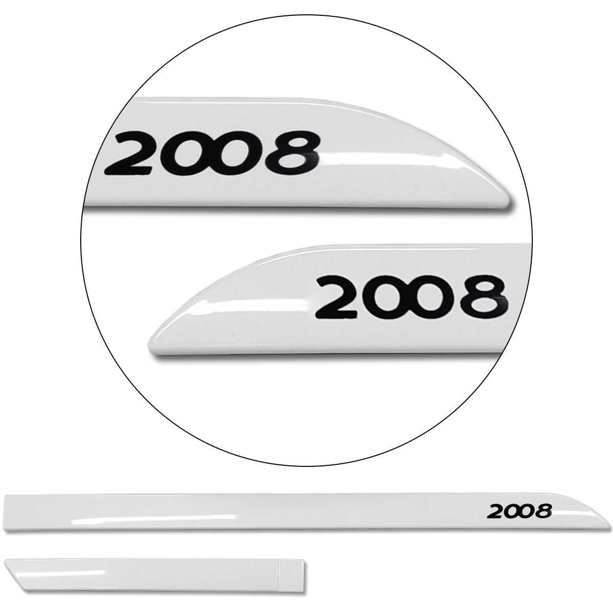 Jogo De Friso Lateral Peugeot 2008 2015 a 2019 Facão Branco Banquise