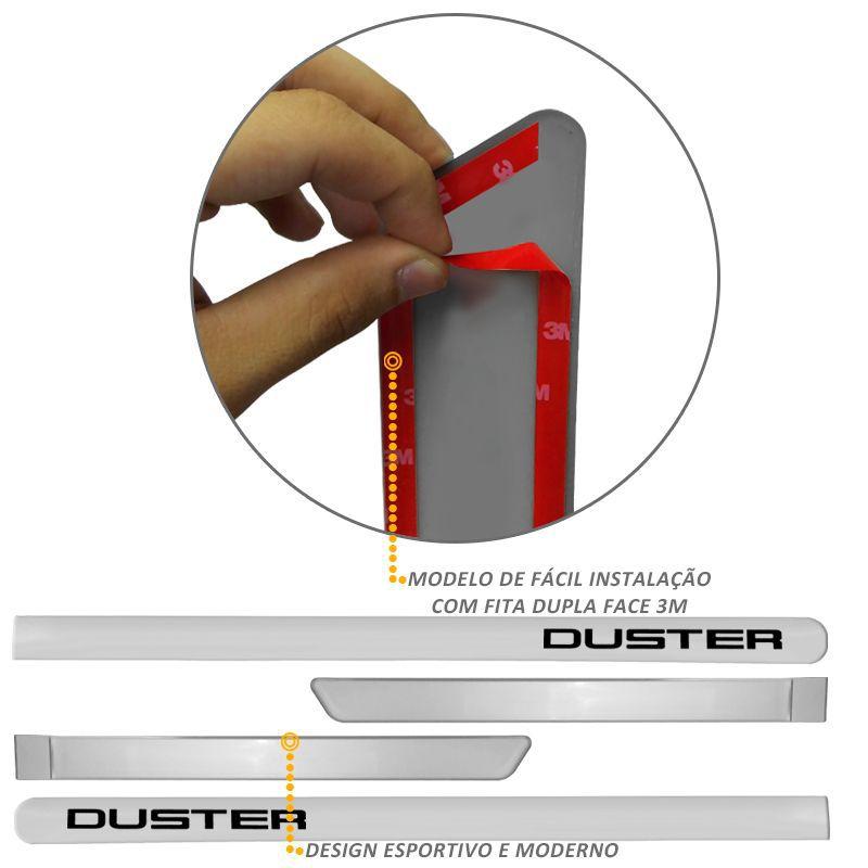 Jogo de Friso Lateral Duster 2012 a 2019 Prata Etoile
