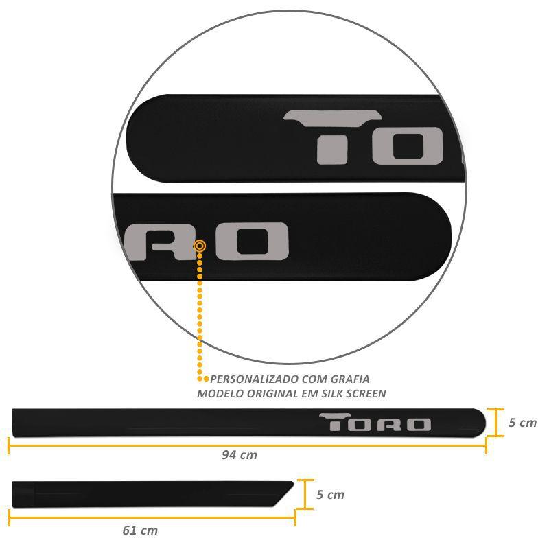 Jogo de Friso Lateral Fiat Toro 2016 a 2019 Preto Carbon