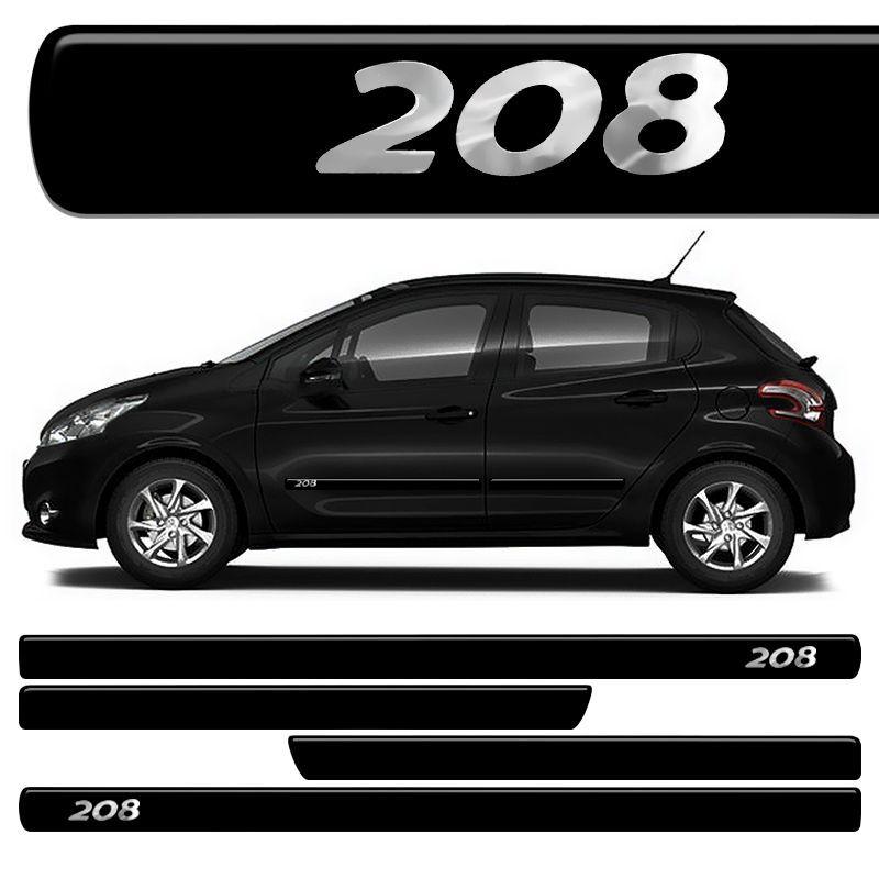 Jogo Friso Lateral Peugeot 208 Resinado Preto