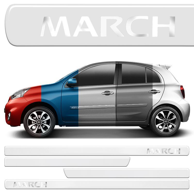 Jogo Friso Lateral New March Resinado Incolor