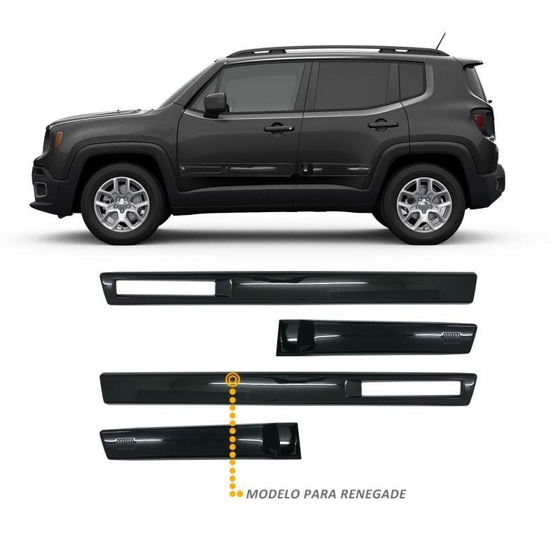 Jogo de Friso Lateral TopMix para Jeep Renegade Vazado Cor Preto Shadow