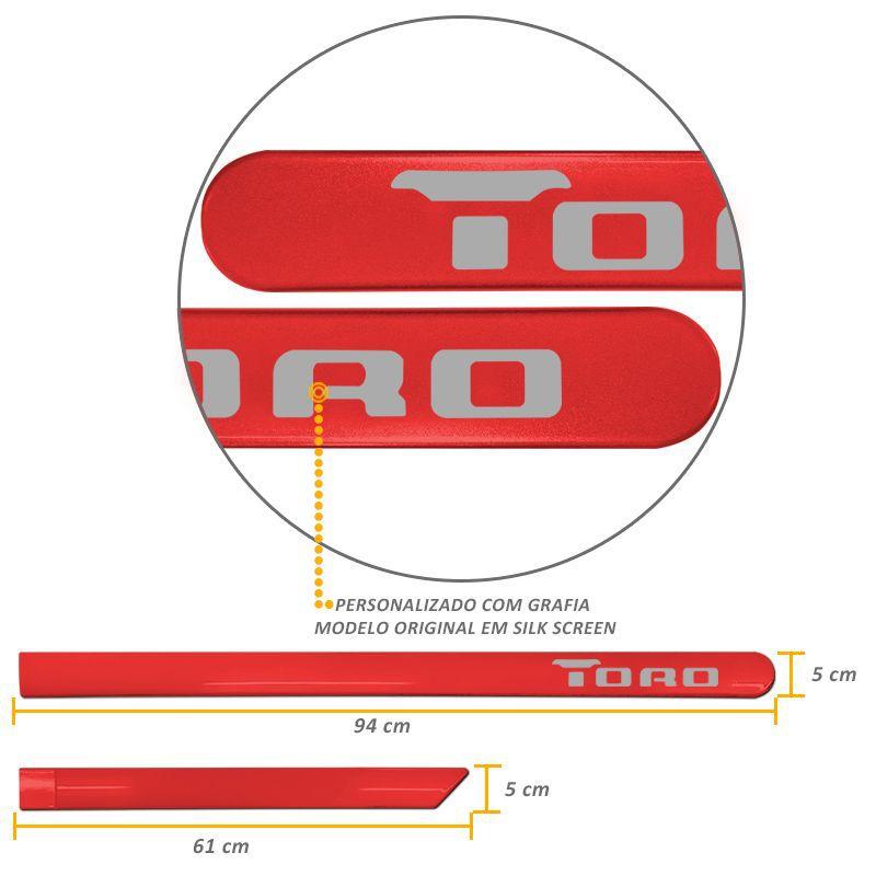Jogo de Friso Lateral Fiat Toro 2016 a 2019 Vermelho Colorado