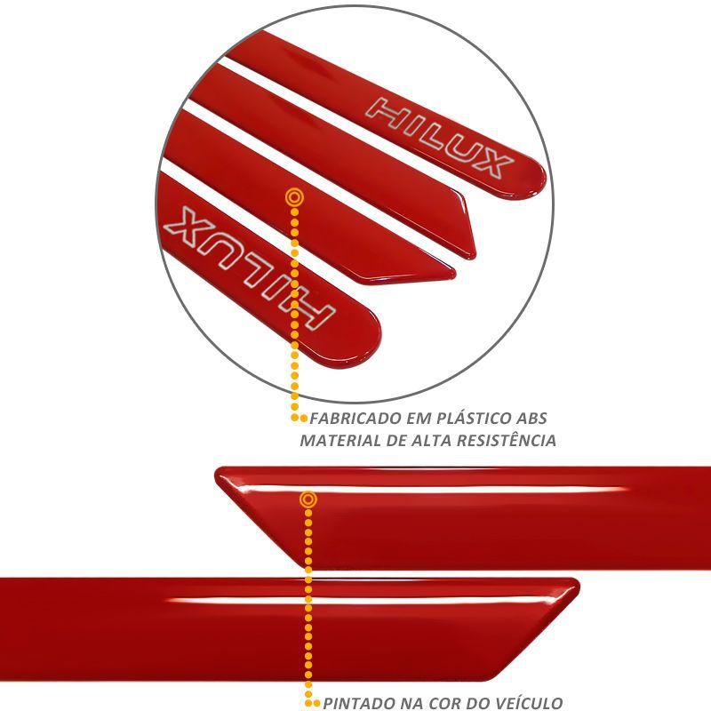 Jogo de Friso Lateral Hilux 2016 a 2020 Vermelho Volcano