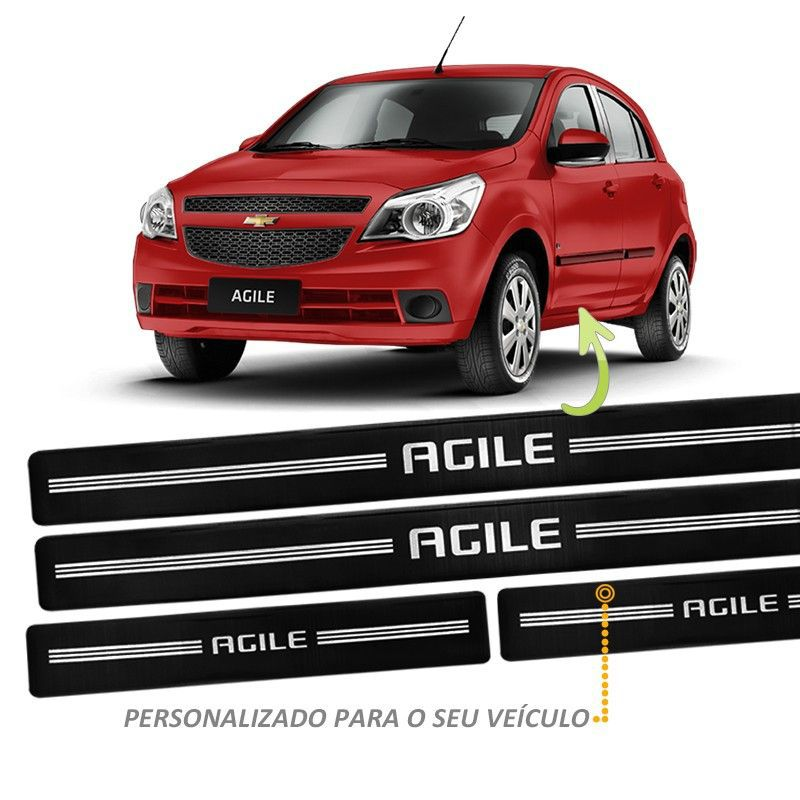 Jogo Soleira Resinada Agile Preto 4 Peças Modelo Original