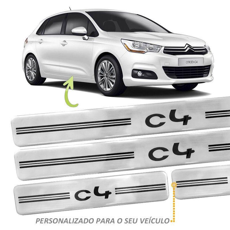 Jogo Soleira Resinada - Citroën C4 2014 em Diante Prata