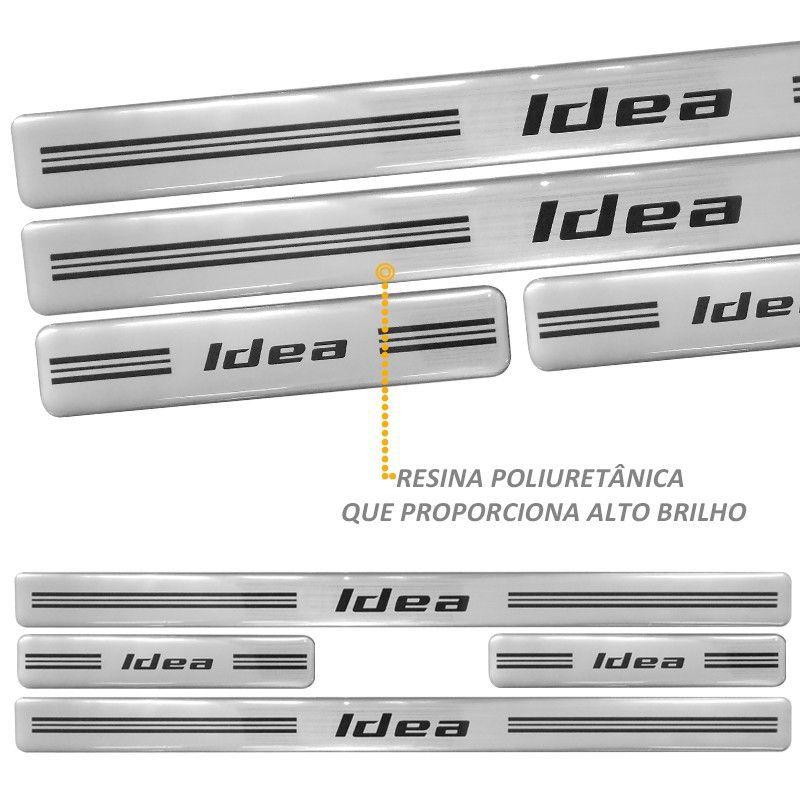 Jogo Soleira Resinada  Fiat Idea 2014 em Diante Prata