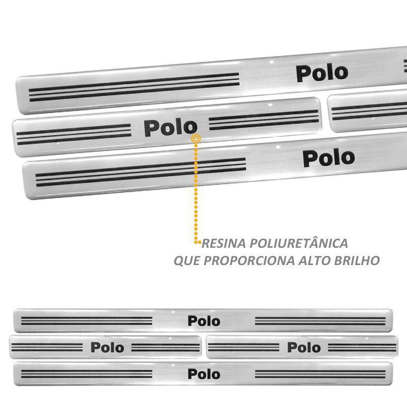 Jogo Soleira Resinada Novo Polo 2014 em Diante Prata 4 Peças