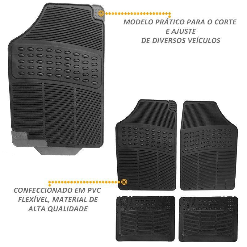 Jogo de Tapete Borracha Automotivo Modelo C Universal Preto