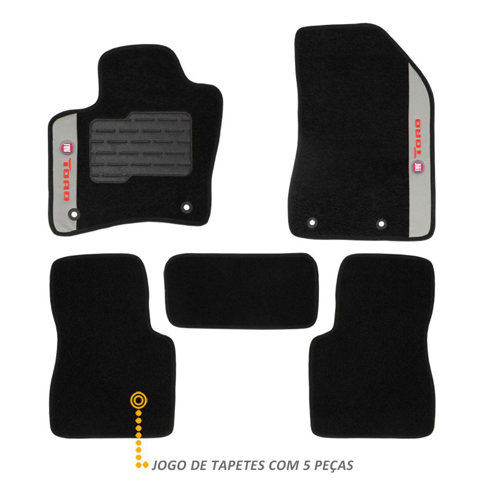 Jogo de Tapete Carpete Fiat Toro 2016 a 2019 Preto Bordado 5 Pçs