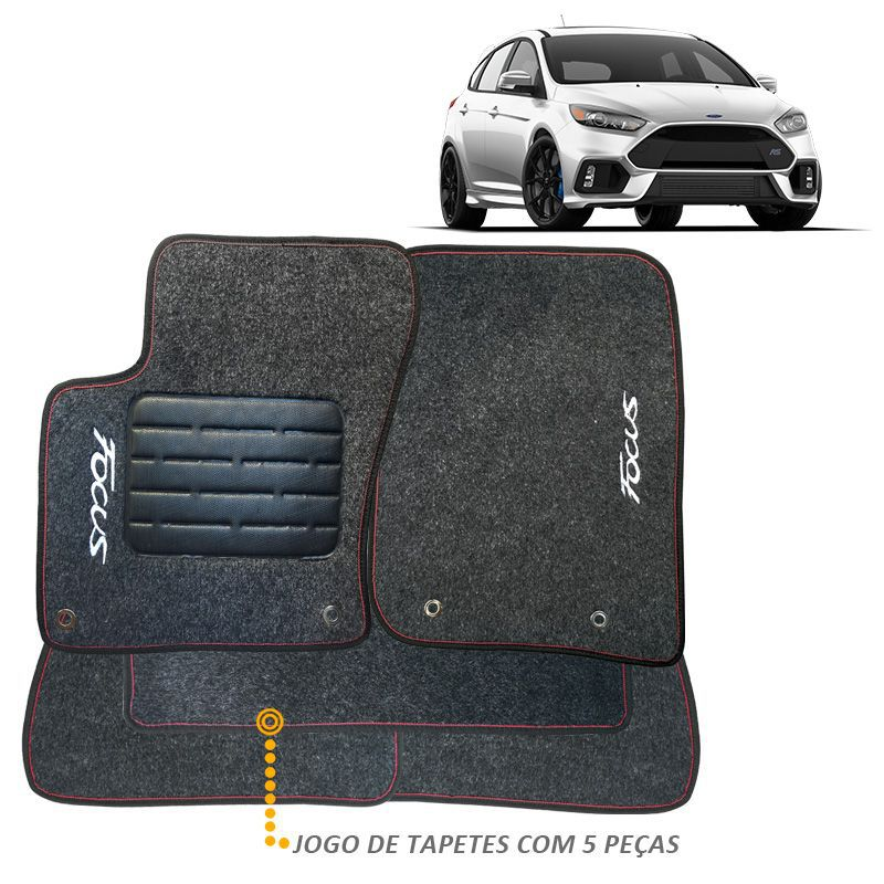 Tapete Carpete Focus 2016 a 2018 Carpete Grafite Bordado