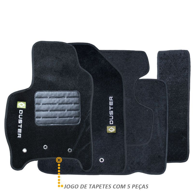 Tapete Carpete Renault Duster 2011 a 2014 Preto Bordado