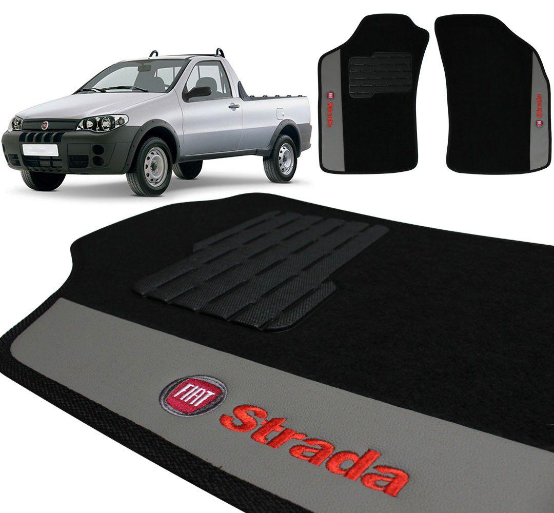 Jogo De Tapetes Carpete Fiat Strada 2003 a 2013 Preto Bordado 2 Peças