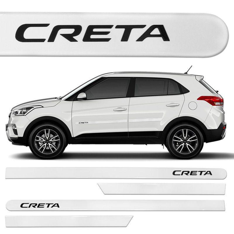Jogo Friso Lateral Hyundai Creta 2017 Branco Polar