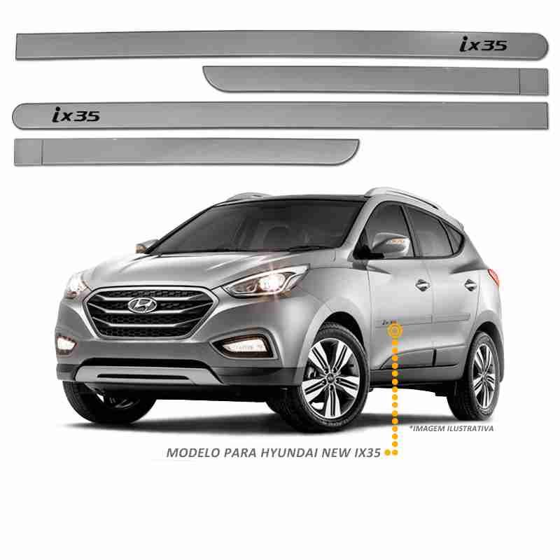 Jogo Friso Lateral Hyundai New Ix35 2016 Cinza Metálico
