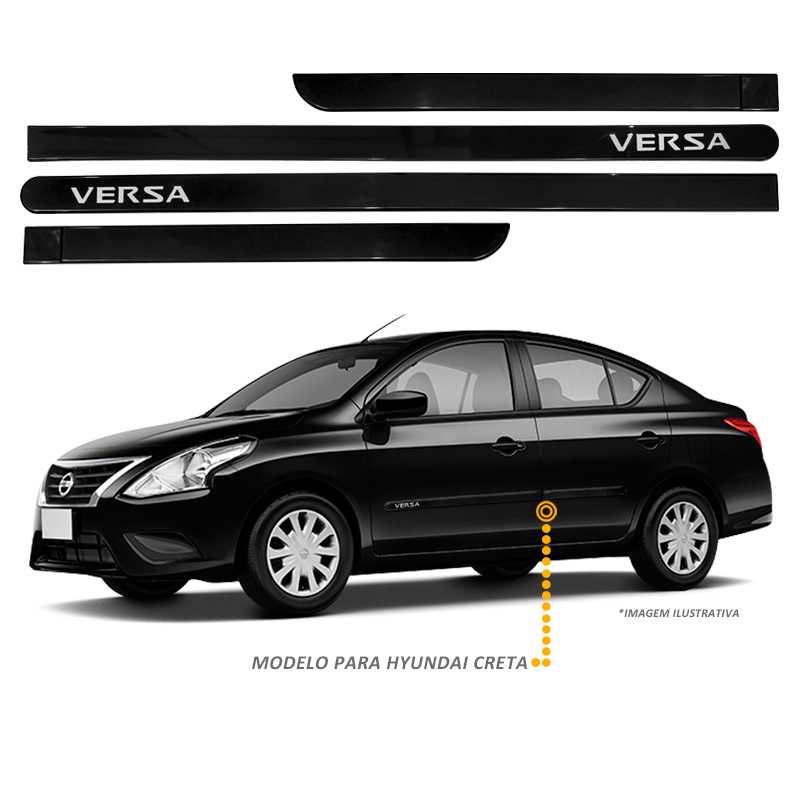 Jogo Friso Lateral Nissan Versa 2011 a 2017 Preto Premium