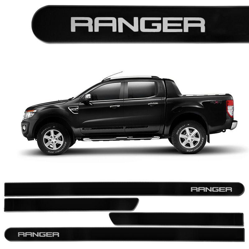 Jogo de Friso Lateral Ranger CD 2013/2017 Preto Gales