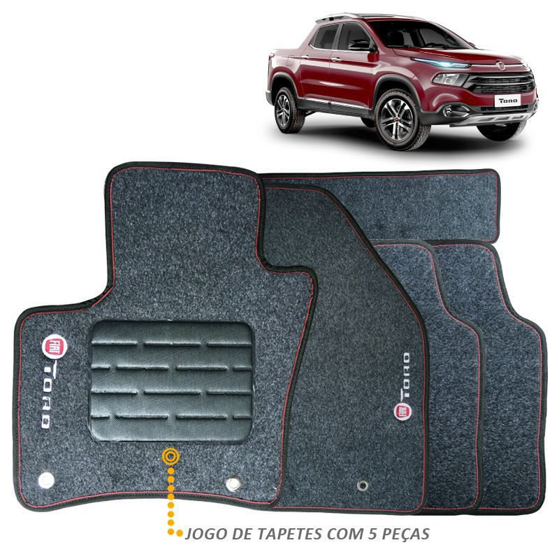 Tapete Fiat Toro 2016 a 2018 Carpete Grafite Bordado