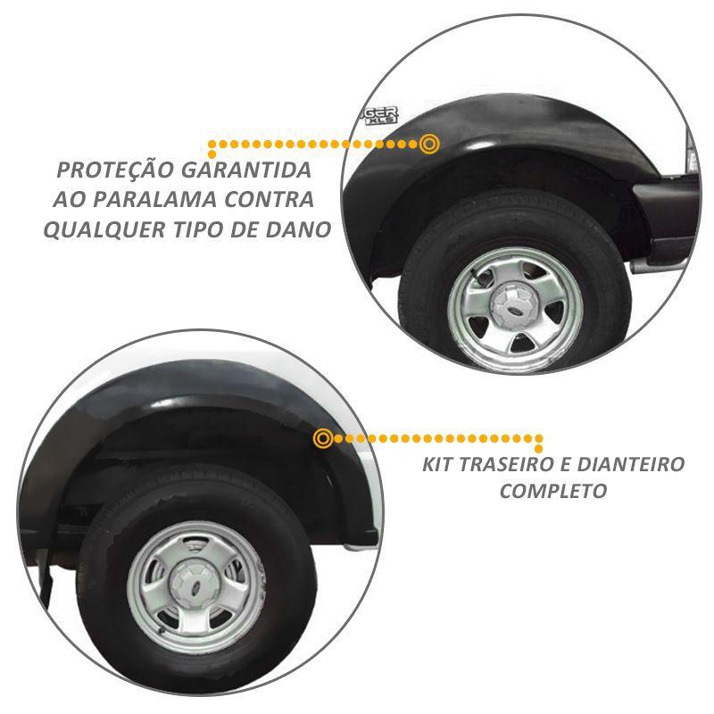 Kit Alargador Paralamas Ranger 1993 a 2009 Preto ABS 4 Peças