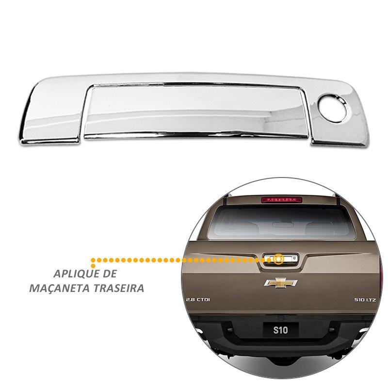 Kit Aplique Cromado S10 12/16 Retrovisor Maçaneta Milha Tras