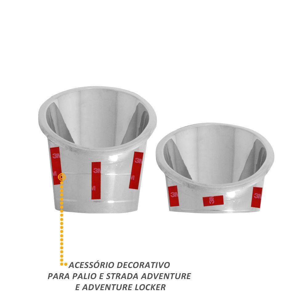 Aplique do Farol de Milha Palio Weekend Strada Adventure 2008 a 2012 Cromado