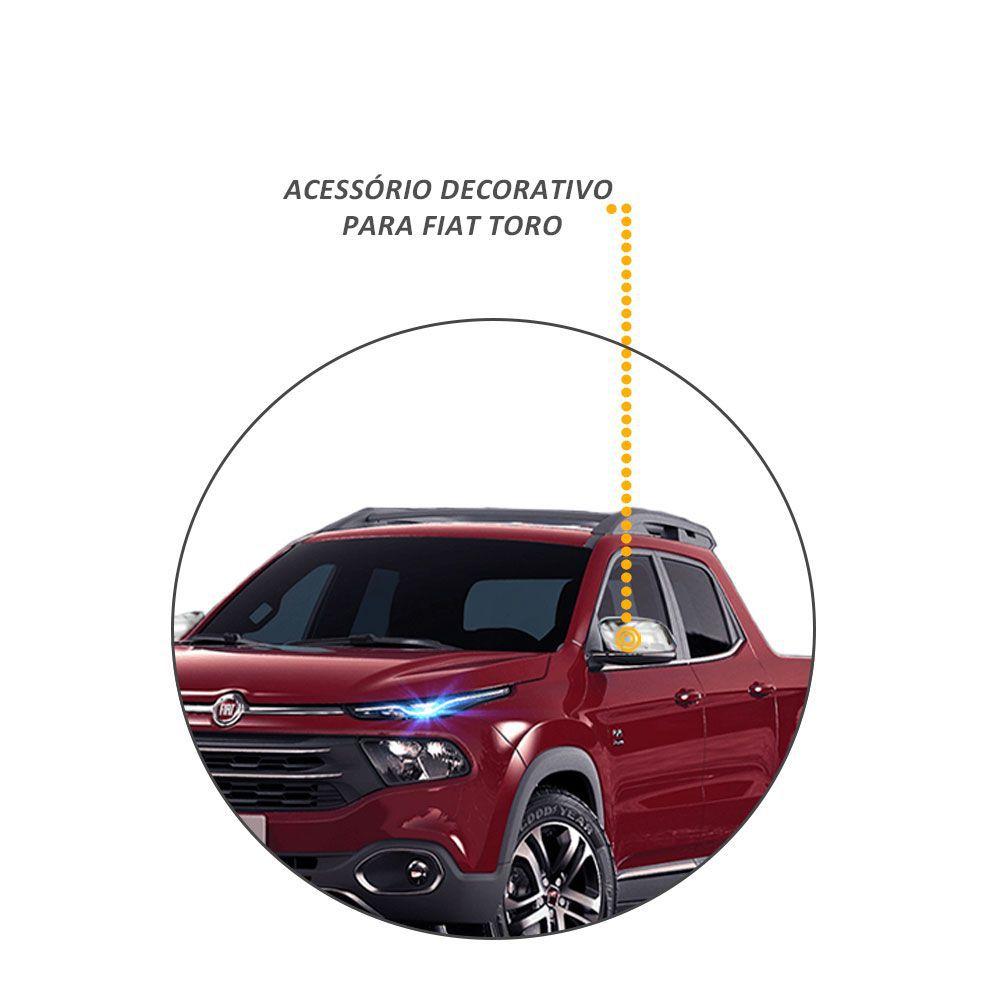 Par de Aplique Retrovisor Fiat Toro Cromado 2016 e 2017