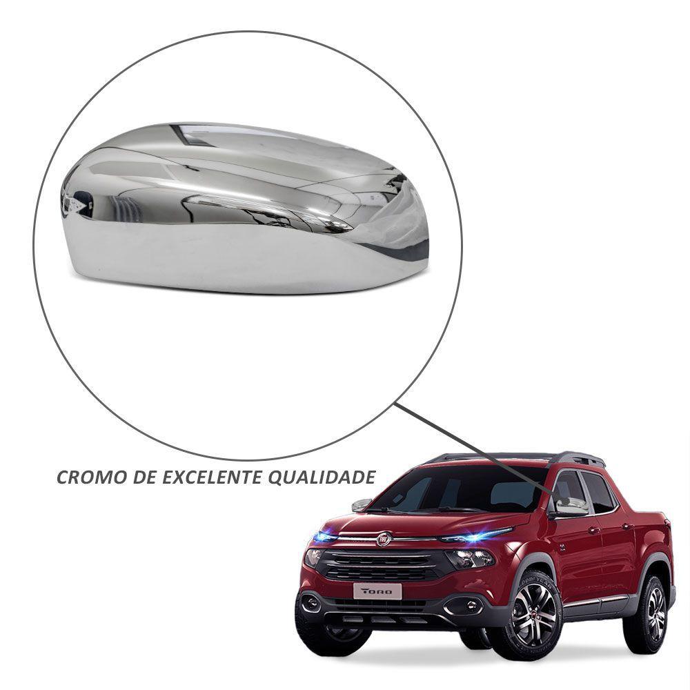 Par de Capa Retrovisor Fiat Toro 2016 2017 Cromada