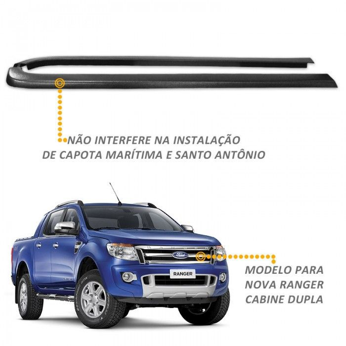 Protetor De Borda Ranger CD 2013 a 2018 Lateral Caçamba