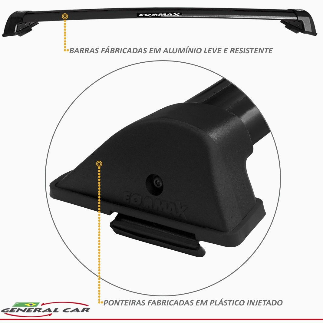 Rack Teto Travessa Clio Hatch e Sedan até 2013 Preto Eqmax