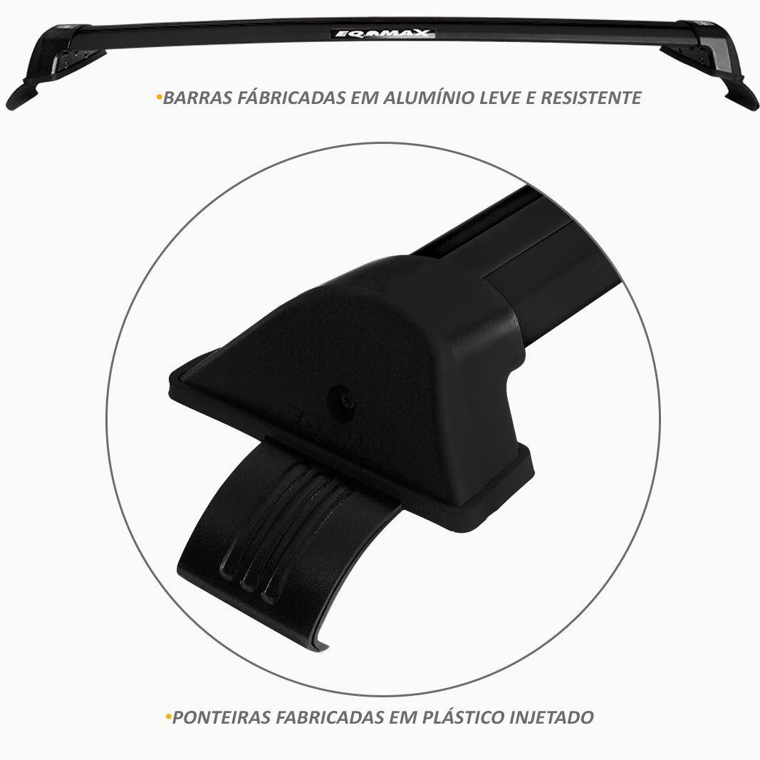 Rack de Teto Travessa Chevrolet Cruze 2012 a 2016 Preto New Wave Eqmax