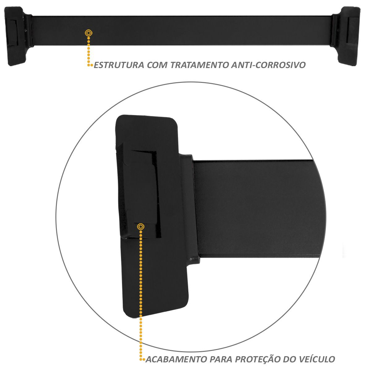 Rack de Teto Travessa Preto New Wave Eqmax Astra