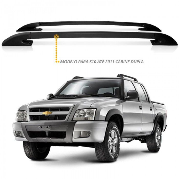 Rack Longarina de Teto S10 Ate 2011 CD em Aluminio Preta