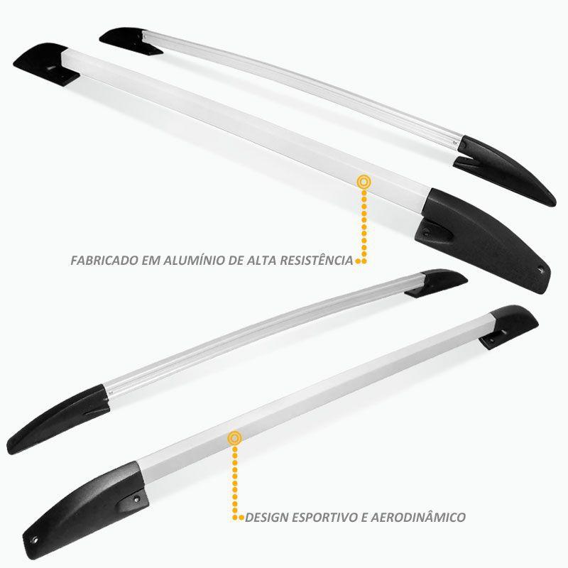 Rack Longarina de Teto S10 1996 a 2011 CD em Aluminio Prata