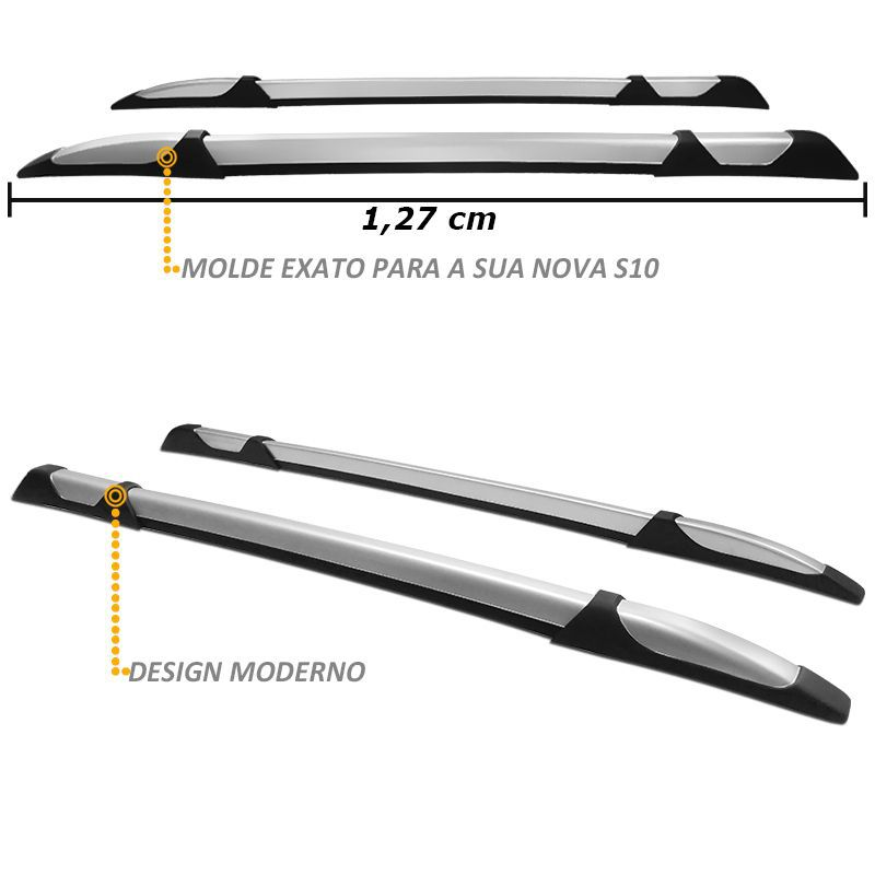 Rack de Teto Longarina S10 2012 a 2020 Decorativo Prata Tgpoli