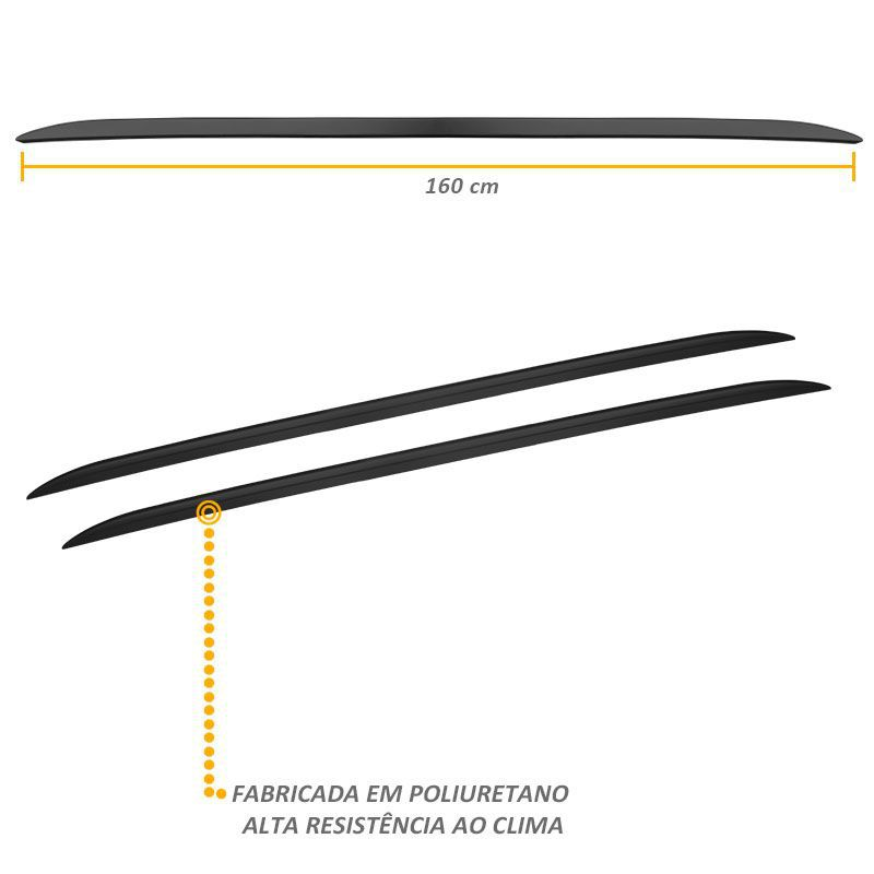 Rack Longarina de Teto Universal Preta Slim Tgpoli