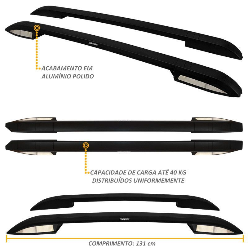 Rack Longarina De Teto S10 2012 a 2019 Aluminio Preto Bepo