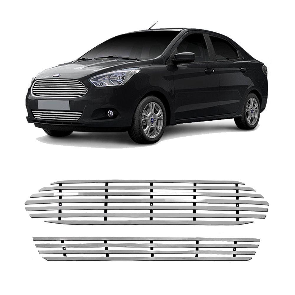 Sobre Grade Ford Ka Sedan 2014 a 2019 Aço Inox Cromada Elite