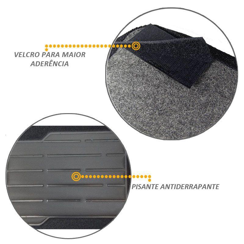 Tapete Carpete Preto Polo 2007 2014 com Trava Segurança