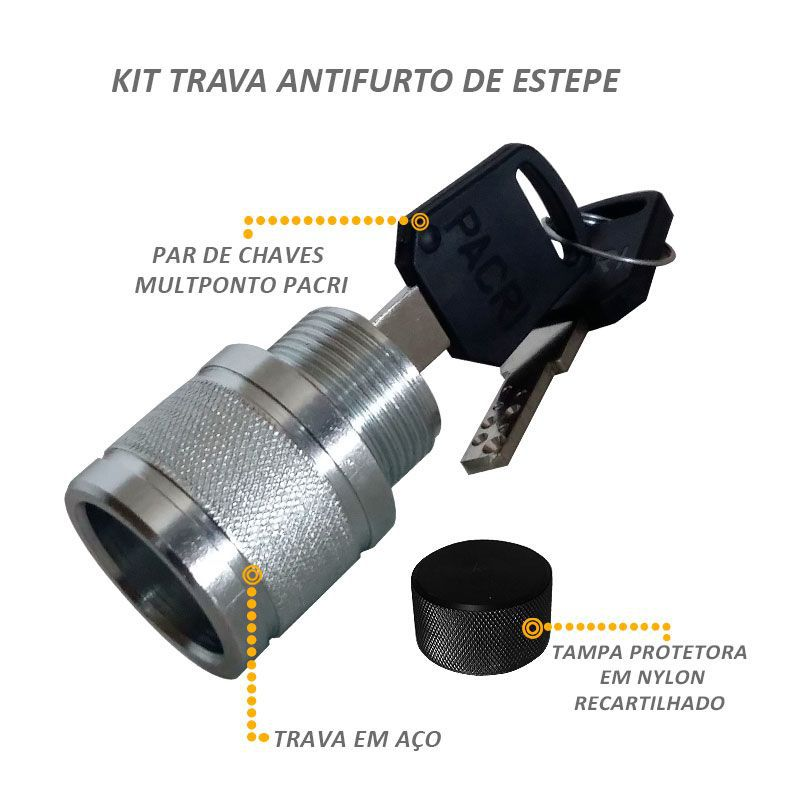 Trava Estepe Hilux F-250 SW4 2005 a 2015 Protetor Antifurto