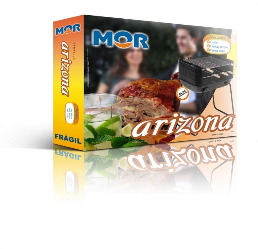 Churrasqueira Esmaltado Arizona 48 Cm Grelha Espetos - Mor