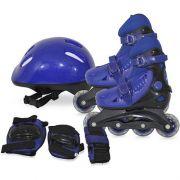 Kit Patins Roller Inline Completo + Proteção Azul