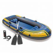 Barco Bote Inflável Intex Challenger 3 Pessoas Remos Bomba Azul