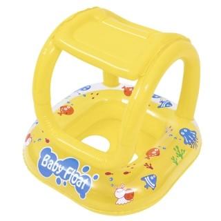 Bote Inflável Infantil com Assento e Cobertura Amarelo Jilong