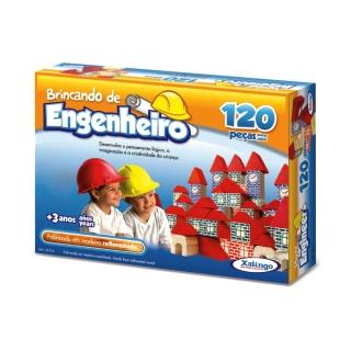 Brincando De Engenheiro 120 Peças Madeira Xalingo