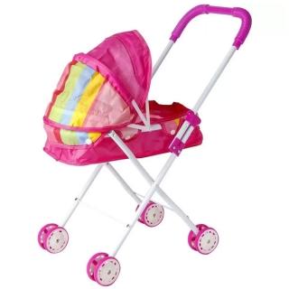 Carrinho de Boneca Infantil 4 Rodas Rosa Importway