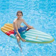 Boia Colchão Prancha de Surf Bronzeador Inflável Azul/Laranja Intex