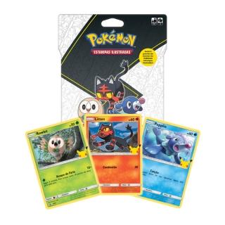 Jogo de Cartas Pokemon Blister Gigante Parceiros Iniciais 15 Cartas Alola