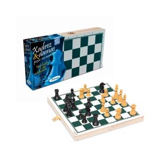 Jogo de Xadrez e Damas Estojo com peças de Madeira Xalingo