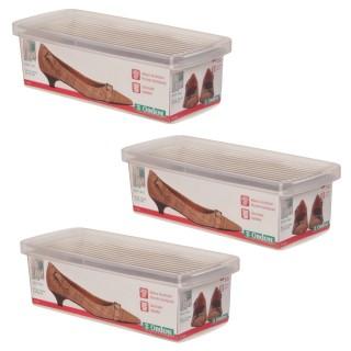 Kit Caixa De Sapato Transparente Para Organizar 3 Unidades - Pequeno
