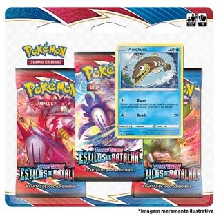 Kit Cartas Pokémon Blister Triplo 3 Pacotes + 1 Carta Arrokuda